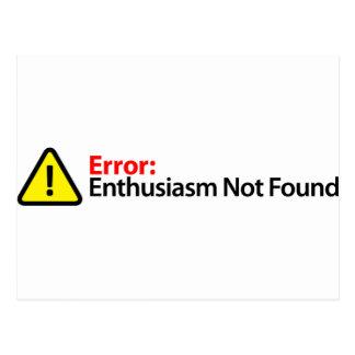 Cartão Postal Mensagem de erro - entusiasmo não encontrado