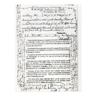 Cartão Postal Mensagem de John Franklin
