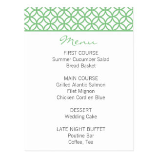 Cartão Postal Menu verde da treliça da hortelã