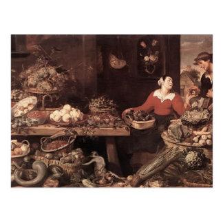 Cartão Postal Mercado de frutas e legumes por Frans Snyders