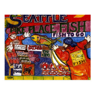 Cartão Postal Mercado de peixes de Seattle