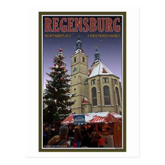 Cartão Postal Mercado do Natal de Regensburg Neupfarrplatz