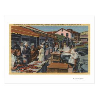 Cartão Postal Mercados de peixes exteriores no cais do pescador