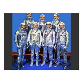 Cartão Postal mercúrio 7 astronautas
