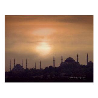 Cartão Postal Mesquita azul e Hagia Sophia Turquia, Istambul