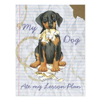 Cartão Postal Meu Doberman comeu meu plano de aula