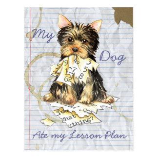 Cartão Postal Meu Yorkie comeu meu plano de aula