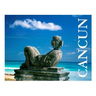 Cartão Postal México, praia de Cancun, Chac Mool