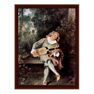 Cartão Postal Mezzetin por Antoine Watteau
