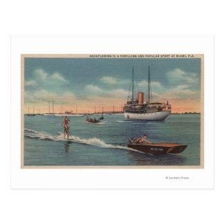Cartão Postal Miami, FL - cena do esqui aquático, barco de