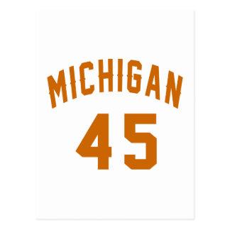Cartão Postal Michigan 45 designs do aniversário