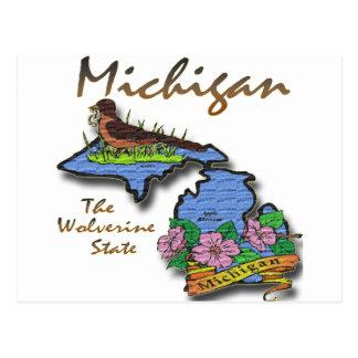Cartão Postal Michigan o pisco de peito vermelho Apple do estado