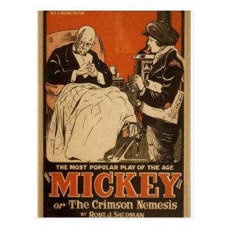 """Cartão Postal Mickey, por """"Robt. Teatro retro de J. Sherman"""""""