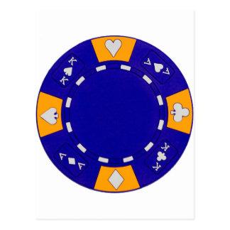 Cartão Postal Microplaqueta de póquer azul