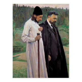 Cartão Postal Mikhail Nesterov- os filósofos