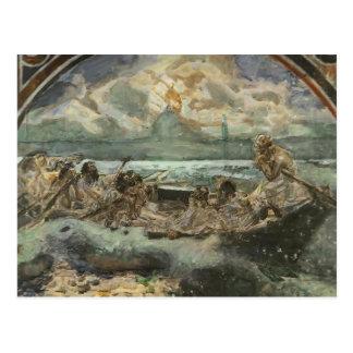 Cartão Postal Mikhail Vrubel- que anda na água