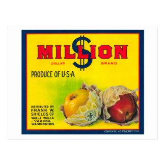 Cartão Postal Milhão dólares Apple etiquetam - Walla Walla, WA