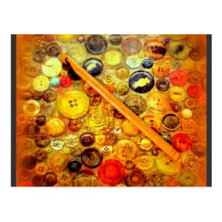 Cartão Postal Mim botões do vintage do gancho de Crochet