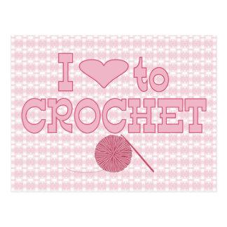 Cartão Postal Mim coração a crochet