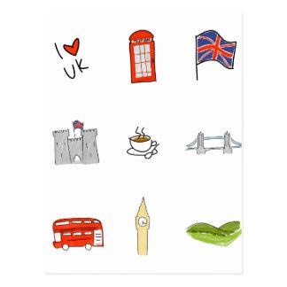 Cartão Postal Mim coração Reino Unido, amor britânico, marcos de