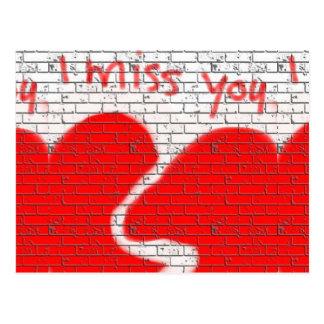 Cartão Postal Mim senhorita Você, vermelho do coração quebrado