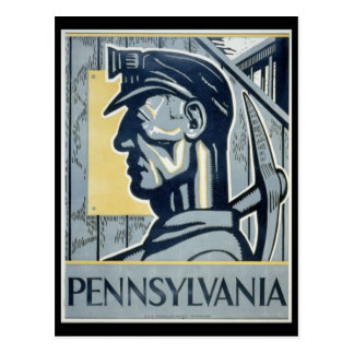 Cartão Postal Mineiro de carvão do Pennsylvanian