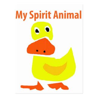 Cartão Postal Minha arte amarela animal do pato do espírito