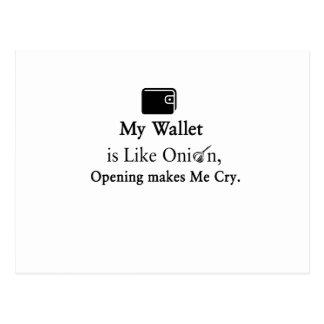 Cartão Postal Minha carteira é como uma cebola, abrindo faz-me