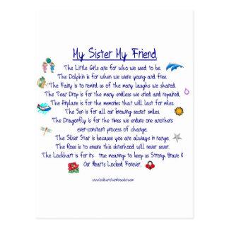 Cartão Postal MINHA IRMÃ meu poema do amigo com gráficos