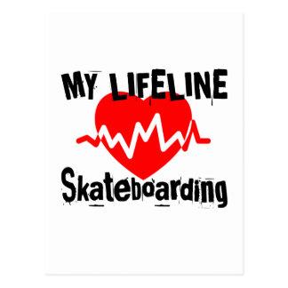 Cartão Postal Minha linha de vida design Skateboarding dos
