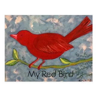 Cartão Postal Minha pintura acrílica do pássaro vermelho