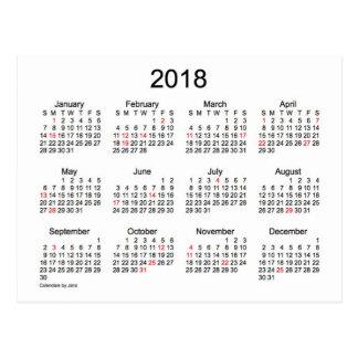 Cartão Postal Mini calendário de 2018 feriados por Janz