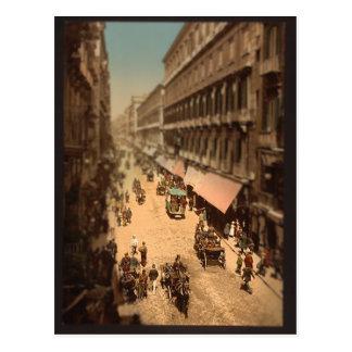 Cartão Postal Miniatura da cena da rua de Nápoles Italia do