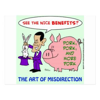 Cartão Postal misdirection do mágico da carne de porco de obama