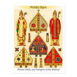 Cartão Postal Mitras, vestidura, e insígnias do Bishop