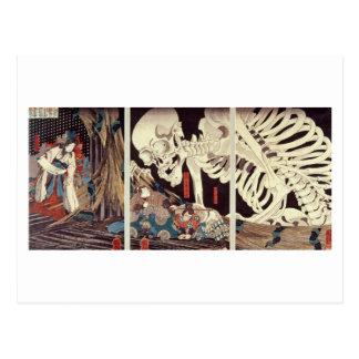 Cartão Postal Mitsukini que provoca o espectro de esqueleto,