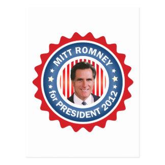 Cartão Postal Mitt Romney 2012 para o presidente dos E.U.
