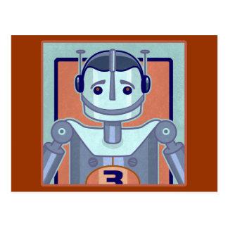Cartão Postal Miúdos azuis retros do robô