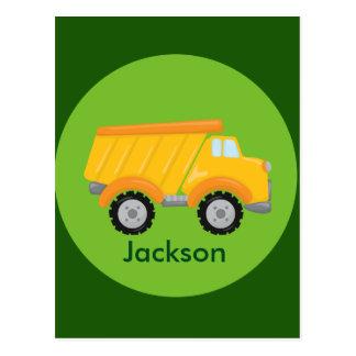 Cartão Postal Miúdos do amarelo do verde do veículo do caminhão