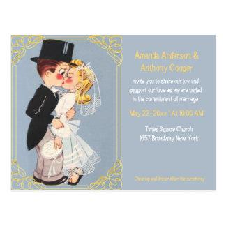 Cartão Postal Modelo bonito e engraçado do casamento dos