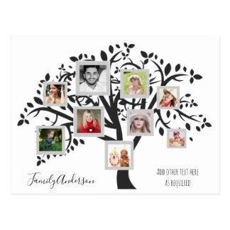 Cartão Postal Modelo da árvore genealógica da colagem da foto