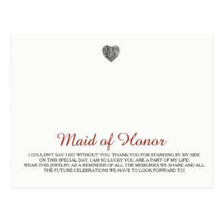 Cartão Postal Modelo da jóia da madrinha de casamento