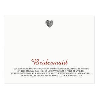 Cartão Postal Modelo da jóia das damas de honra