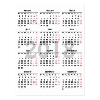 Cartão Postal modelo de 2018 calendários