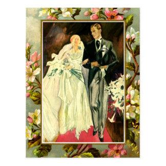 Cartão Postal Modelo floral do casal do casamento do vintage