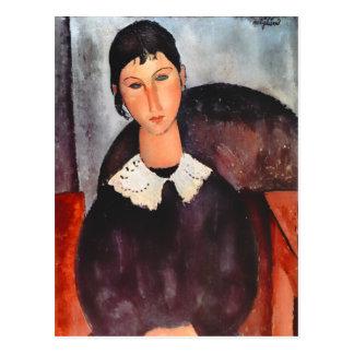 Cartão Postal Modigliani Elvira com colarinho branco