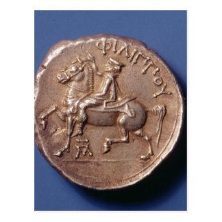 Cartão Postal Moeda de prata de Philip II de Macedon