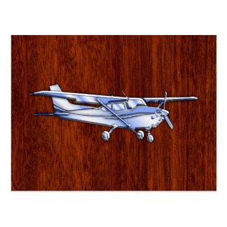 Cartão Postal Mogno clássico do vôo de Cessna do cromo dos