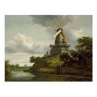 Cartão Postal Moinho de vento por um rio