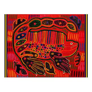 Cartão Postal Mola indiano da iguana de Kuna